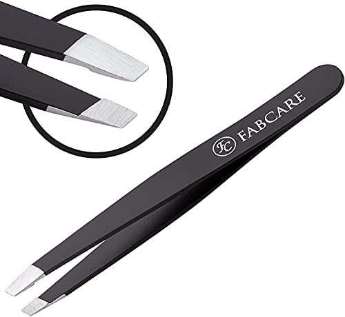 FABCARE Pinzette zum Augenbrauen zupfen (schräg) inkl. Etui - Verbesserte Spitze - Profi Augenbrauenpinzette mit Anti-Rutsch Beschichtung - Zupfpinzette zur Haarentfernung - Spitze Pinzette
