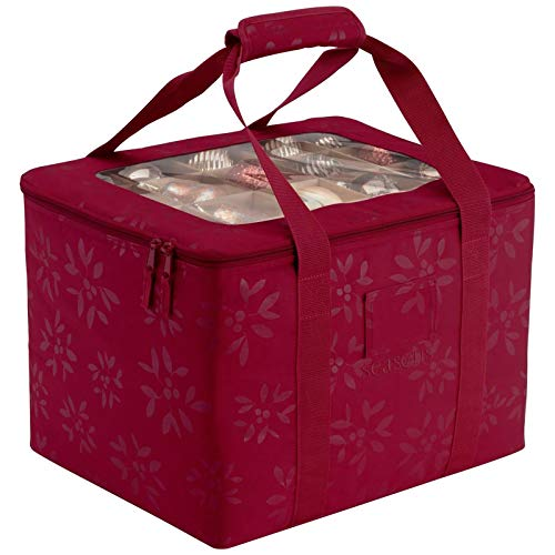Weihnachtskugeln Aufbewahrungsbox für 60 Kugeln, Robuste Aufbewahrungsbox mit Deckel für Weihnachtsschmuck, Organizer-Tasche mit Griffen ,Weihnachten Ornament Christbaumkugel Box (Red)