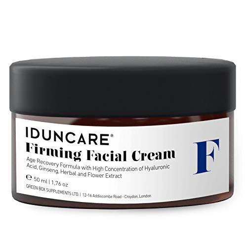 Iduncare Straffende Gesichtscreme - Anti Aging Hyaluron Creme mit Vitamin C & natürlichem Ginseng Extrakt - Feuchtigkeitscreme reduziert effektiv Falten, schlaffe Haut & Altersflecken - 50 ml