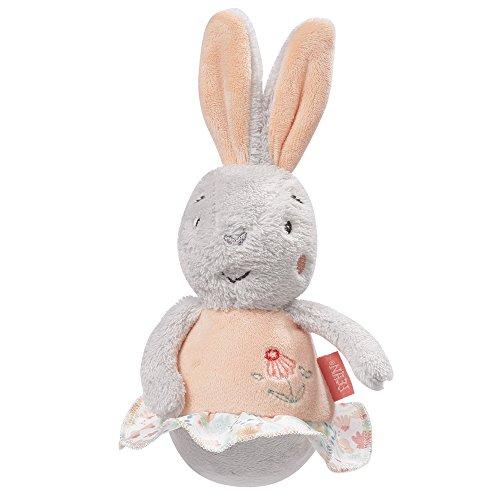 Fehn 062151 Mini-Stehauf Hase | Stehauffigur aus weichem Plüsch | Lernspielzeug mit Glöckchen und Stehauf Funktion zum Spielen und Geräusche erzeugen | Für Babys und Kleinkinder ab 0+ Monaten