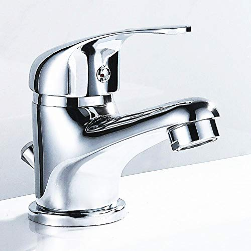 wolketon Einhebel Waschtischmischer Wasserhahn, Komfort-Höhe 125mm Einhebelmischer mit Zugstangen Ablaufgarnitur