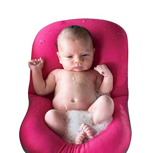 Moonvvin Baby-Badekissen, weiches Badewannenkissen und -Liege für Neugeborene, rot, 37*57CM