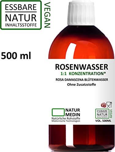 ROSENWASSER 500-ml Gesichtswasser, 100% naturrein, 1:1 Konzentration, Rosa damascena Blüttenwasser, ohne Zusatzstoffe, PET Braunflasche, nachhaltig