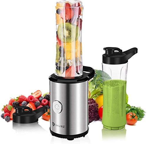 Mixer Smoothie Maker, Mini Standmixer mit 2X 600ml BPA Freie Flasche, Mixer für Shake, Smoothie, EIS, Getränk von Obst und Gemüse, 23000 U/Min, Edelstahl,350W