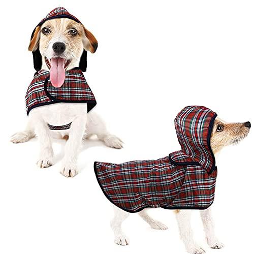 LeerKing Regenjacke Regenmantel mit Kapuze und Geschirr-Loch für Hunde Rücken 20cm bis 46cm wasserdicht Hundepullover 6 Größe für kleine Haustier S