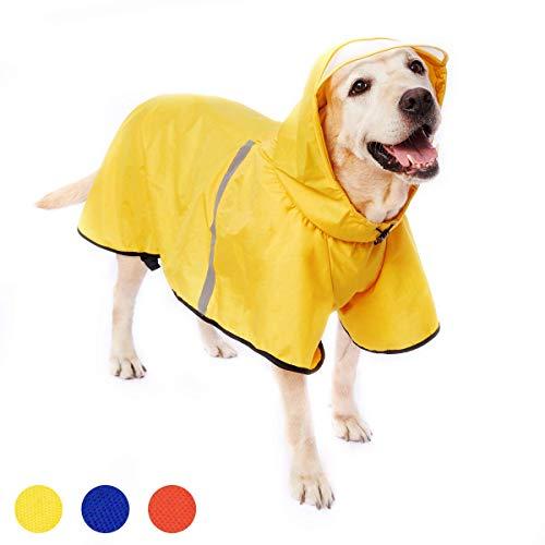 Dociote Hunde Regenmantel Regenjacke mit Kapuze & Kragenloch & Reflektierender Streifen wasserdichter Hundemantel für mittelgroße große Hunde 3XL Gelb
