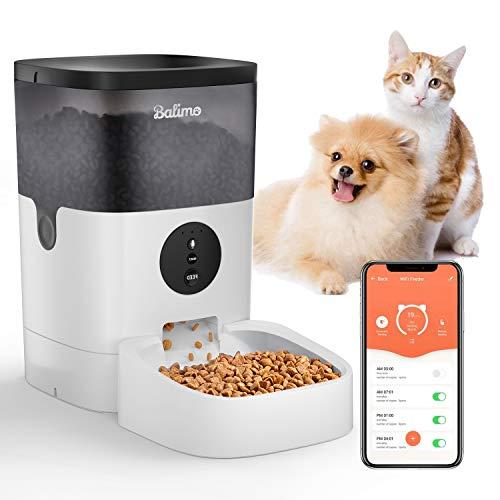 Balimo 4L WiFi Automatischer Futterspender für Katze und Hunde,Katze Futterautomat mit Ton Aufnahmefunktion Timer und Entfernt APP Steuerung