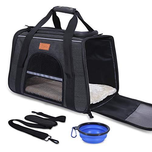 ELOSIS Transporttasche Katze und Kleine Hunde,Haustiertragetasche,Faltbare Hundetragetasche,Haustiertragetasche mit Verstellbarem Schultergurt,Katzentragetasche mit Abnehmbare Matte + Schüssel