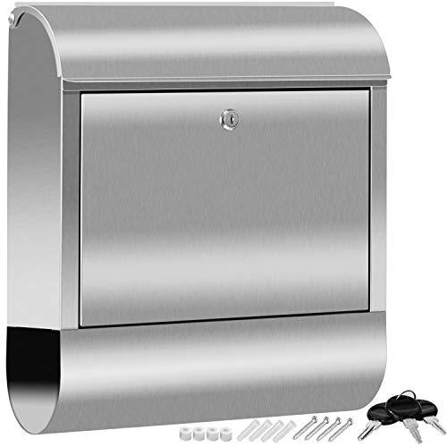 KESSER® XXL Briefkasten Edelstahl mit Zeitungsfach, gebürstet, 3x Schlüssel abschließbar, Pulverbeschichtet, Wandmontage, groß Front-Einwurf: DIN C4 = DIN A4 inkl. Montagematerial Silber
