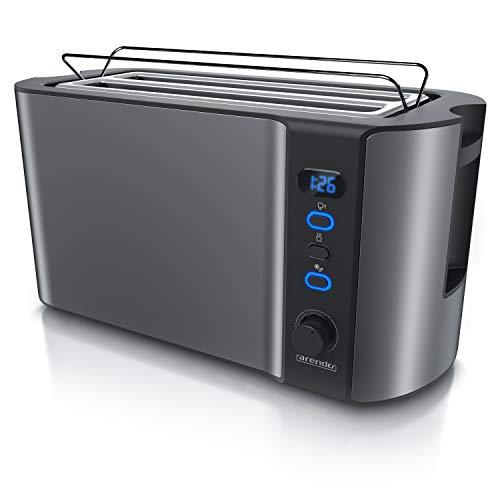 Arendo - Edelstahl Toaster Langschlitz 4 Scheiben - Defrost Funktion - wärmeisolierendes Gehäuse - mit integrierten Brötchenaufsatz - 1500W - Krümelschublade - Display mit Restzeitanzeige - Cool Grey