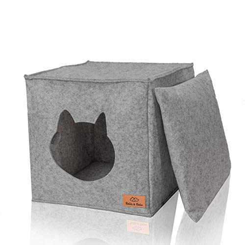 Bella & Balu Filz Katzenhöhle inkl. Kissen + Spielzeug (ideal für Ikea Kallax und Expedit) – Faltbare Kuschelhöhle für Katzen zum Schlafen, Verstecken, Toben und Kratzen (Hellgrau)