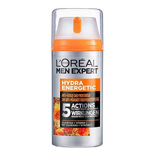 L'Oréal Men Expert Gesichtspflege für Männer, Feuchtigkeitscreme mit Guarana und Vitamin C, Hydra Energy Feuchtigkeitspflege 24H Anti-Müdigkeit XXL, 1 x 100 ml