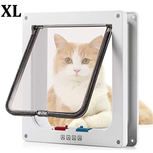 Pujuas Katzenklappe Hundeklappe mit 4-Wege-Magnet-Schließ, Haustierklappe für Katzen und kleine Hunde, Katzentüre mit Tunnel (XL 25 * 27cm, Weiß)