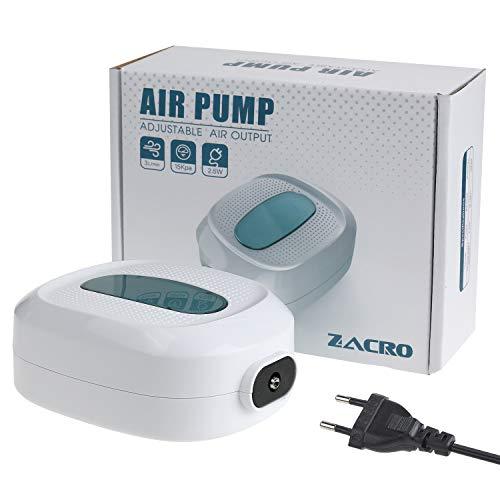 Zacro 2.5w Aquarium Luftpumpe, 3l / min Durchfluss, Druck 15 kPa, Sauerstoff Luftpumpe Geeignet für Süßwasser und Meerwasseraquarien, Weiß
