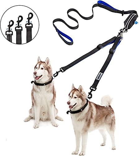 YOUTHINK Doppelleine Hundeleine für 2 Hunde Keine Verwicklung Reflektierend Hundeleine Doppelte Gepolsterte Griffe Verstellbar Splitterleinen, mit kotbeutelspender für Hunde bis zu 50KG