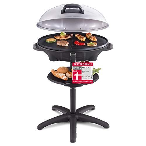 Cloer 6789 Barbecue-Grill, Standgrill mit integriertem Thermometer, Stiftung Warentest 05/2020, 2400 Watt, Grillfläche: 38,5 x 52,5 cm, platzsparend verstaubar, schwarz, silber