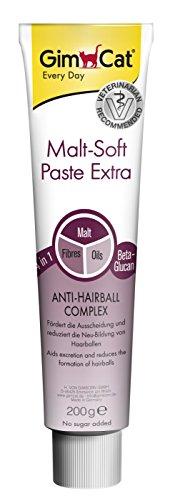 GimCat Malt-Soft Paste Extra, Ballaststoffreicher Katzensnack mit Anti-Hairball Complex, Fördert Ausscheidung und reduziert Neubildung von Haarballen, 1 Tube (1 x 200 g)