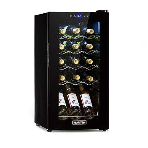 Klarstein Shiraz Slim Weinkühlschrank - Energieeffiezienzklasse A, 5-18 °C, 42 dB, Soft-Touch-Bedienfeld, LED-Beleuchtung, freistehend, 4 Regaleinschübe, 44 Liter, für 15 Flaschen Wein, schwarz