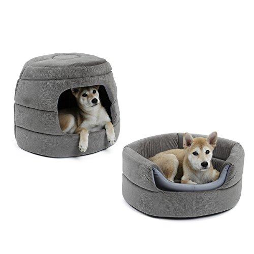 Katzen Höhle Hundehaus Speedy Pet Hundebett Katzenbett 2 in 1 Hundekorb Hundehütte Rutschfest für Kleine Mittlere Haustiere Grau