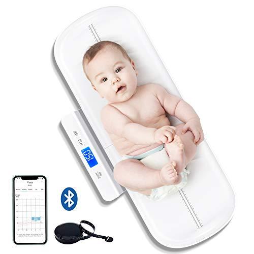 UNICHERRY Bluetooth Babywaage, Tierwaage, Multifunktionale baby waage mit herausnehmbarem Tablett, Babywaage digital mit Tara- und Haltefunktion, kostenlose App und Batterien (max: 100 kg)