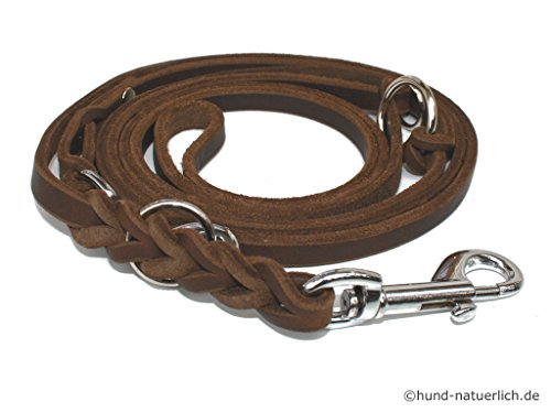 Lederleine Hund 3-Fach verstellbar geflochten, braun verchromt Fettleder Führleine (2,40m x 8mm)