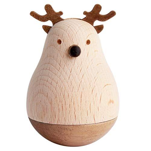 VOSAREA Holz Stehaufmännchen Spielzeug Stehauffigur Stehauf Pinguin Bär Schwein Rentier Figur Dekofigur Baby Rassel Beißring Babyspielzeug Kinder Holzspielzeug
