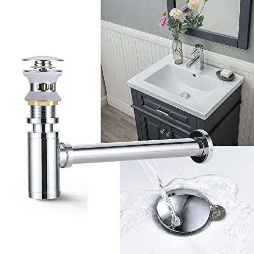 Ablaufgarnitur mit überlauf+Flexibler Siphon für Waschtisch/Waschbecken, WOOHSE Pop Up Ventil Abflussgarnitur Küchenspüle Ablaufgarnitur aus Messing, Chrom