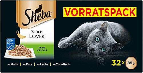 Sheba Sauce Lover – Feine Häppchen Variation mit Sauce für ausgewachsene Katzen – 32 x 85g Katzennahrung in der Schale