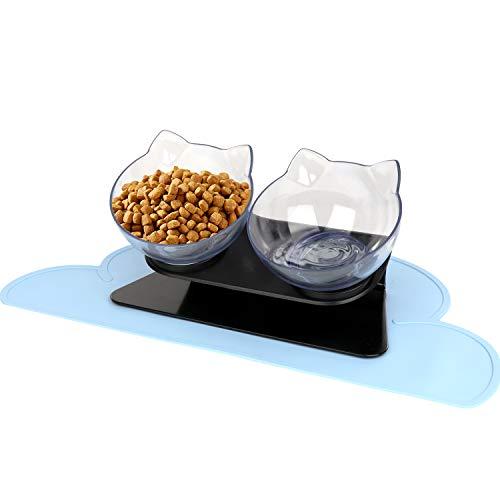 Katzennäpfe mit Futtermatten, Katzen Futternapf Set, VIKEDI Katzennapf Erhöht Futternapf Katze 15° Gekippte Plattform Fressnäpfe, Doppelter Hundenapf, rutschfeste Katzennäpfe für Futter und Wasser