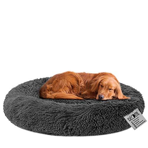 Decdeal Haustierbett für Katzen und Hunde Rundes Plüsch Hundebett Katzenbett in Doughnut-Form Farbe und Größe Optional (Durchmesser 100cm, dunkelgrau)