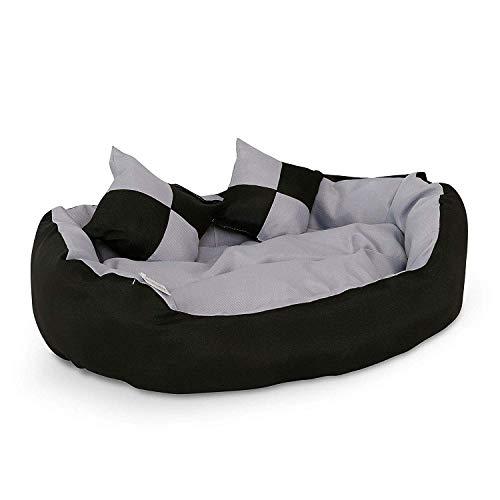 dibea 4-in-1 Hundebett, Hundekissen, Hundekörbchen mit Wendekissen, schwarz/grau, Größe S