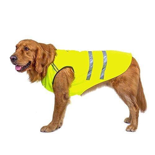 Bwiv Hunde Warnwesten Haustier Jacke Katze Mantel Bauchschutz Reflektierender Streifen Verdickungsstoff Draussen mit Leine Loch