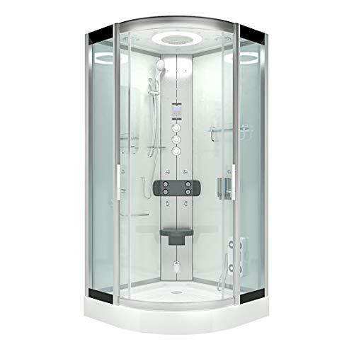 AcquaVapore DTP8046-0003 Dusche Dampfdusche Duschtempel Duschkabine -Th. 80x80 JA mit 2K Scheiben Versiegelung