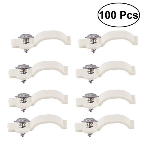 BESTOMZ 100 Stück Einen Seite Befestigungsleiste Licht Montagehalterung Befestigungs Clip mit 100 Stück Nichtmagnetischen Schrauben