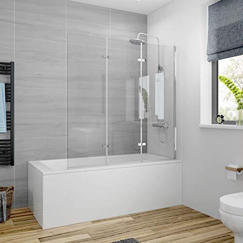 Meykoers Duschabtrennung 130x140cm Duschwand für Badewanne, Dreifalten Duschwand Badewannenaufsatz mit 6mm Nano Easy Clean Glas