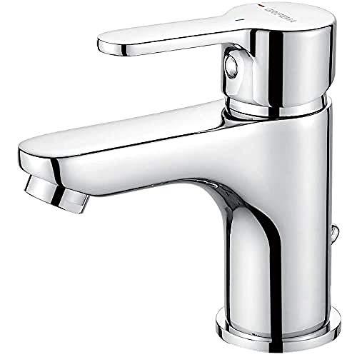 GRIFEMA Bad Wasserhahn Wassersparend- Mischbatterie mit 50cm Kalt/Warmwasser Anschluss, Waschtischarmatur Infache Montage, Badarmaturen für Waschbecken, Badezimmer, Waschtischbatterie Messing, Chrom
