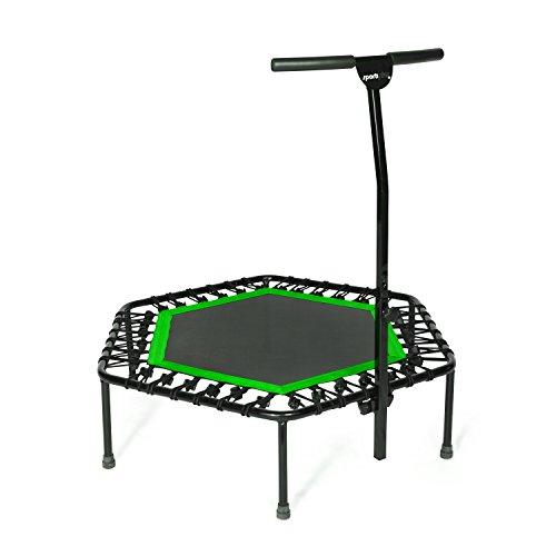 SportPlus Fitness-Trampolin, TÜV-Geprüft, Ø 126cm, leise Gummiseilfederung, 5-fach höhenverstellbarer Haltegriff, inkl. Randabdeckung, Nutzergewicht bis 130kg, Trampolin für Jumping Fitness