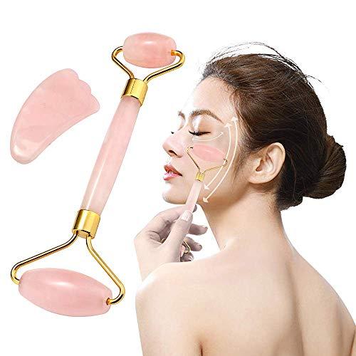 Rosenquarz Roller und Gua Sha Jade Roller natürlicher Jade für Gesichtsmassagegerät Roller Massage