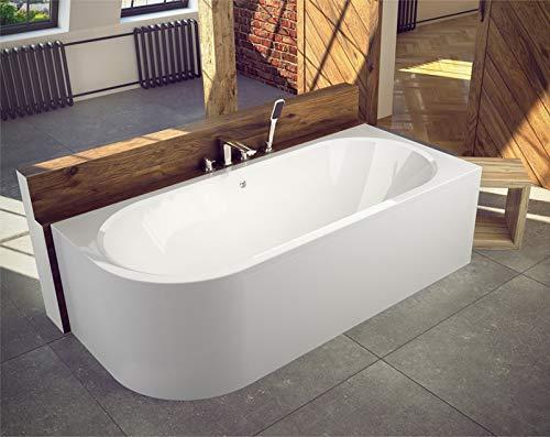 BADLAND Eckbadewanne Eckwanne Badewanne Rechteck Avita RECHTS LINKS 170x75 mit Acrylschürze, Füßen und Ablaufgarnitur GRATIS (170x75 RECHTS)