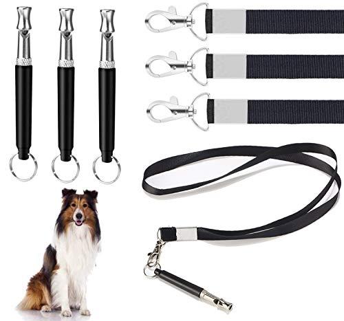 Hundepfeife mit Pfeifengurt, 3-teilig Professionelle Ultraschallpfeife Hochfrequenz einstellbar mit Lanyard Dog Training Kit Hundepfeife, um das Bellen zu stoppen 3 Pcs für effektives Hundetraining