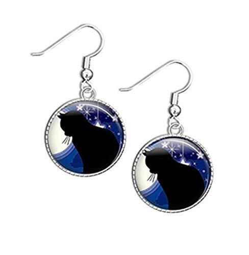 Katzen-Ohrringe, schwarze Katzen-Schmuck, Katzen-Accessoires, beste Katzen-Geschenke, Katzen-Bild-Ohrringe, schwarze Katzen-Ohrringe