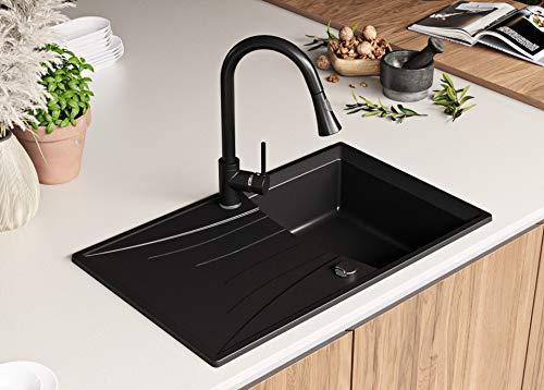 Granitspüle mit Siphon Valencia Einbauspüle Spülbecken Schwarz Küchenspüle Unterschrank Küche ab 45cm Spüle aus Granit mit Ablaufgarnitur Drehexcenter und Überlauf von Primagran