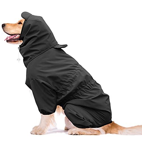Idepet Hunde Regenmantel, wasserdichte Hunderegenjacke Verstellbarer Hunderegenponcho mit Gurtloch Winddichter Regenschutz für große mittelgroße kleine Welpenhunde (XL, Schwarz)