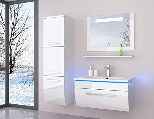danny Weiß Badmöbelset 70 cm mit einem Schrank Vormontiert Badezimmermöbel Waschbeckenschrank mit Waschtisch Spiegel mit LED Hochglanz lackiert Homeline1