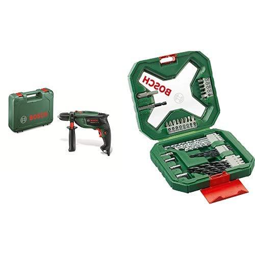 Bosch Schlagbohrmaschine UniversalImpact 700 (Zusatzhandgriff, Tiefenanschlag, Koffer, 700 Watt) + Bosch 34tlg. X-Line Classic Schrauber und Bitset (Holz, Stein und Metall, Zubehör für Bohrmaschinen)