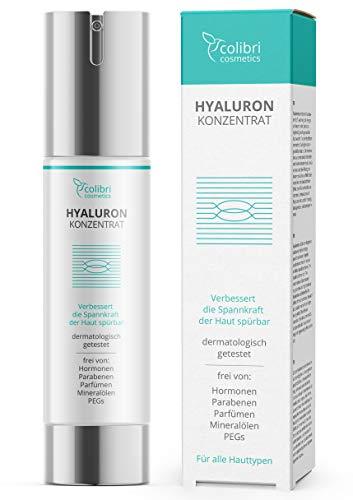 Hyaluronsäure Serum hochdosiert - Testsieger 2020 - Natürliche Hyaluron Anti-Aging Creme für das Gesicht - 50ml von colibri cosmetics - Naturkosmetik Made in Germany