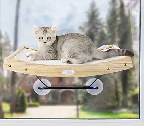 Pecute Katzen Fensterplätze (42 * 30 * 6.5cm), Katzen Hängematte Sisal mit 2 in 1 Katzen Kratzbaum, Massivholzrahmen, Eisenhalterung und leistungsstarker Saugnapf