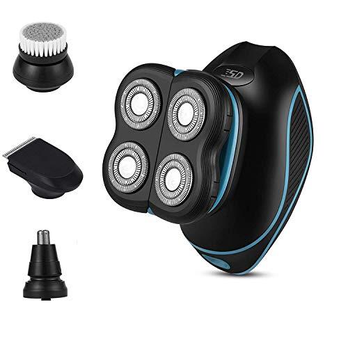 Glatzen Rasierer für Herren, 4 in 1 Rasierer Herren Elektrisch, IPX7 Wasserdicht 5D Rotationsrasierer für Männer Wiederaufladbar Rasierapparat mit Bartschneider Nass und Trockenrasierer