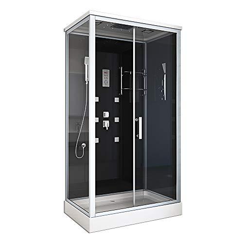 Home Deluxe - Komplettdusche 120x80 - Duschkabine Wave XL mit Regendusche   Duschtempel, Fertigdusche, Dusche Komplett