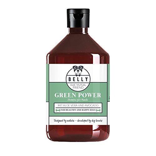 Hundepflege Shampoo Green Power von Belly 500 ml Flasche I Natürliches Pflegeshampoo mit Aloe Vera und Avocadoöl I Hundeshampoo mit Kokosextrakt für schönes, seidiges & glänzendes Fell